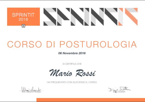 Attestato corso di posturologia sprintit (esempio)