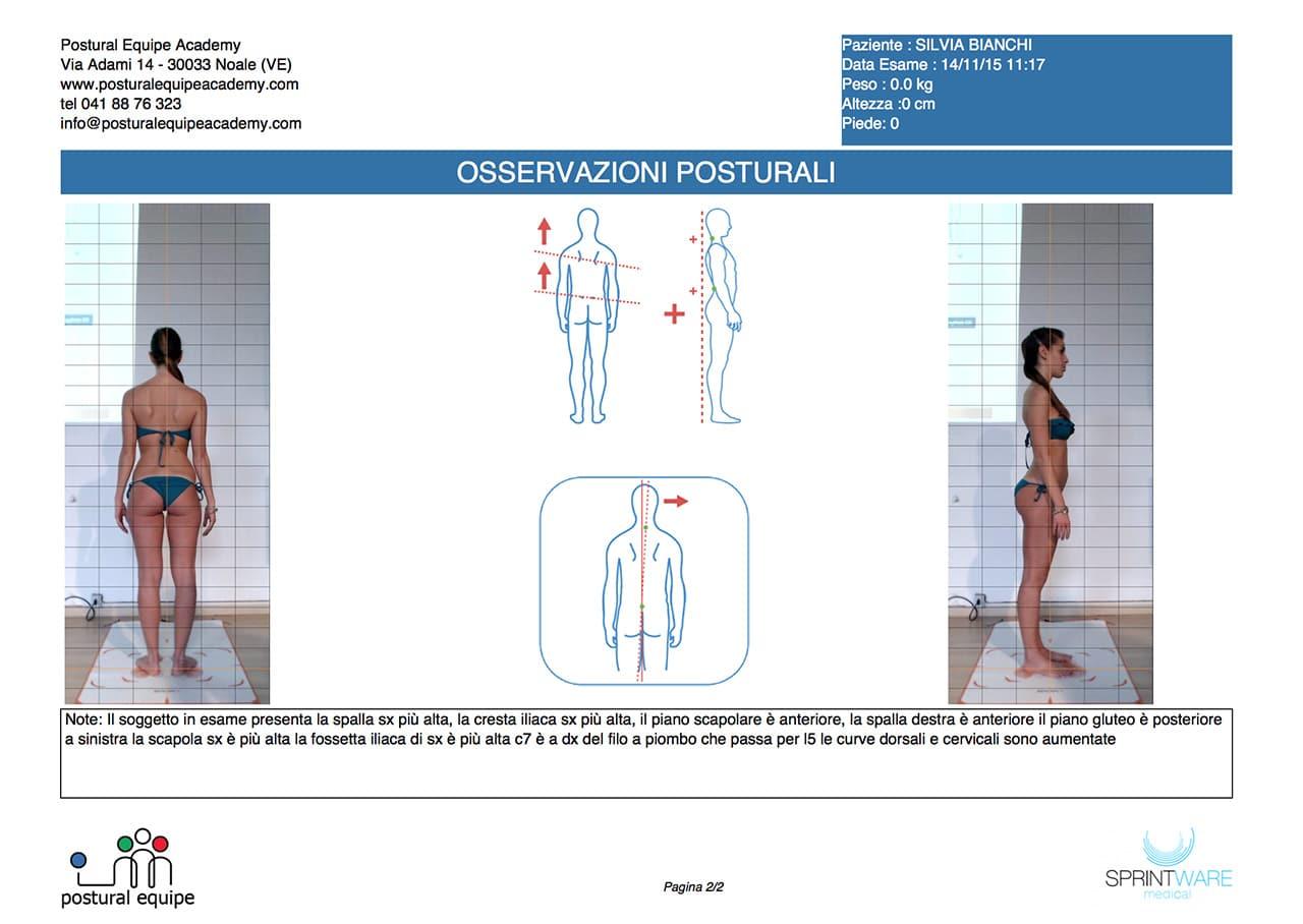 Esempio di referto dell'esame posturale a 4 foto